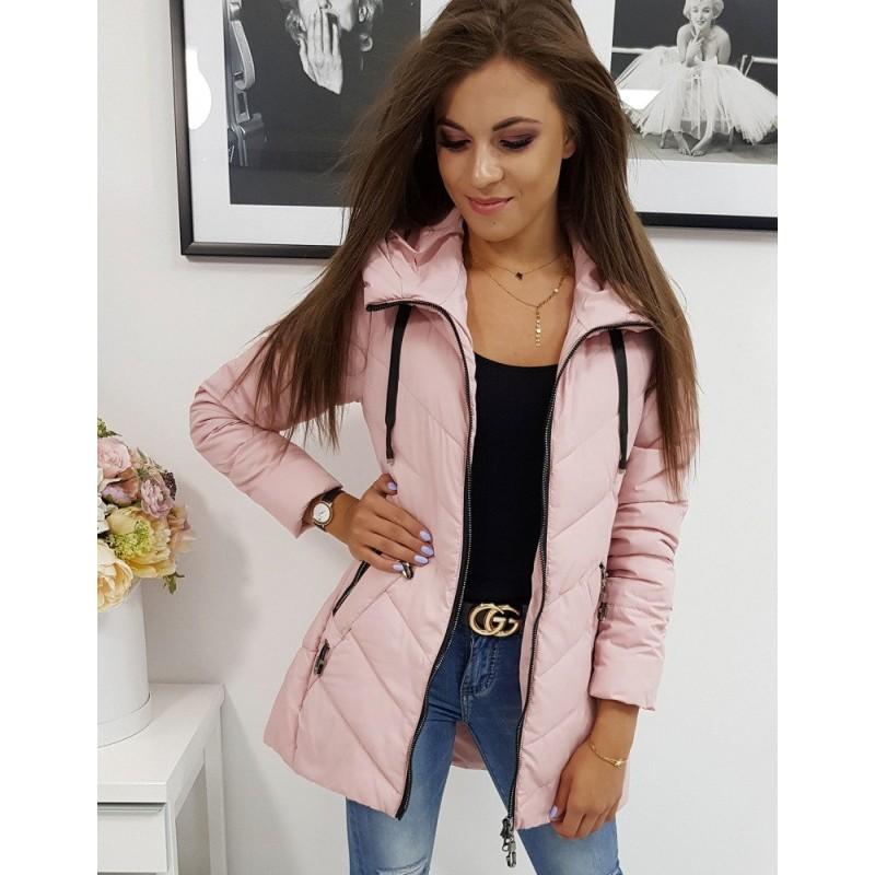 Jarní dámská bunda růžové barvy s kapucí