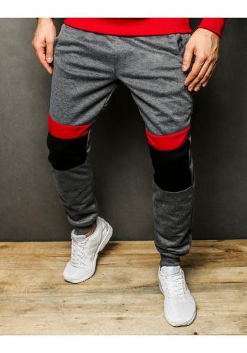 Pánské sportovní tepláky s kontrastními vložkami v tmavě šedé barvě