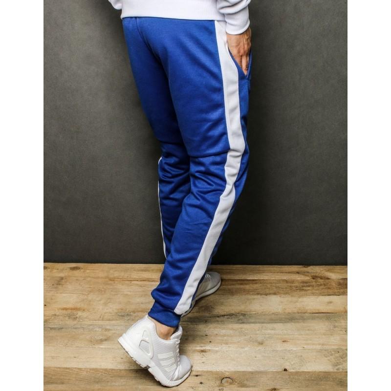 Pánské sportovní tepláky s bílým pásem v modré barvě
