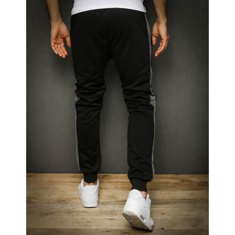 Černé módní tepláky se šedým pásem pro pány