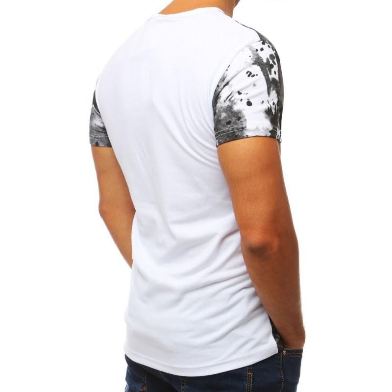 Pánské sportovní tričko s potiskem v bílé barvě