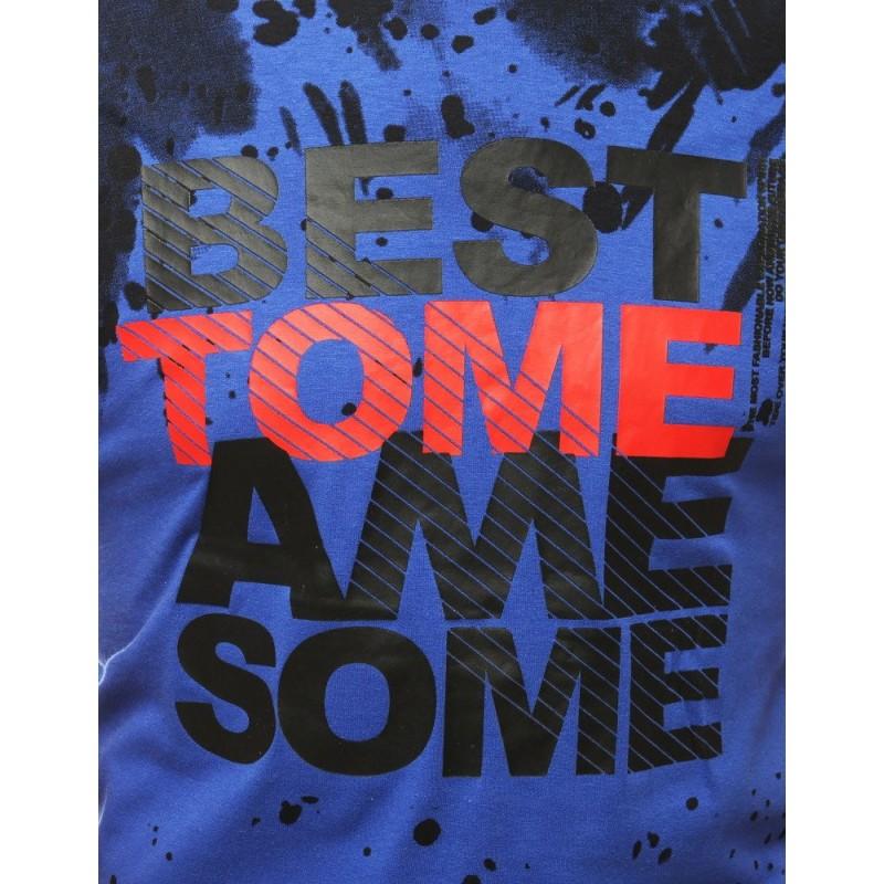Sportovní pánské tričko modré barvy s potiskem