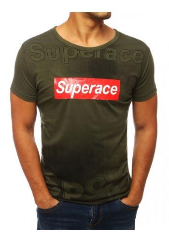 Pánské sportovní tričko s potiskem v zelené barvě
