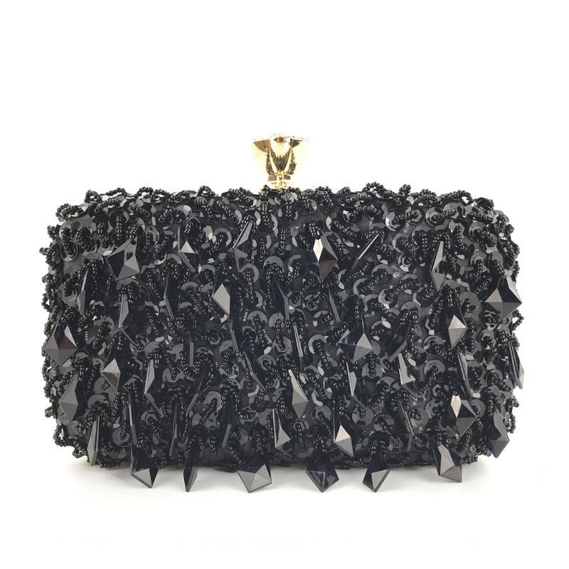 Dámská společenská kabelka s krystaly v černé barvě