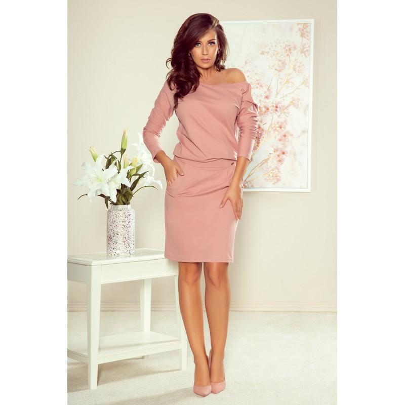 Bavlněné dámské šaty růžové barvy s dlouhým rukávem