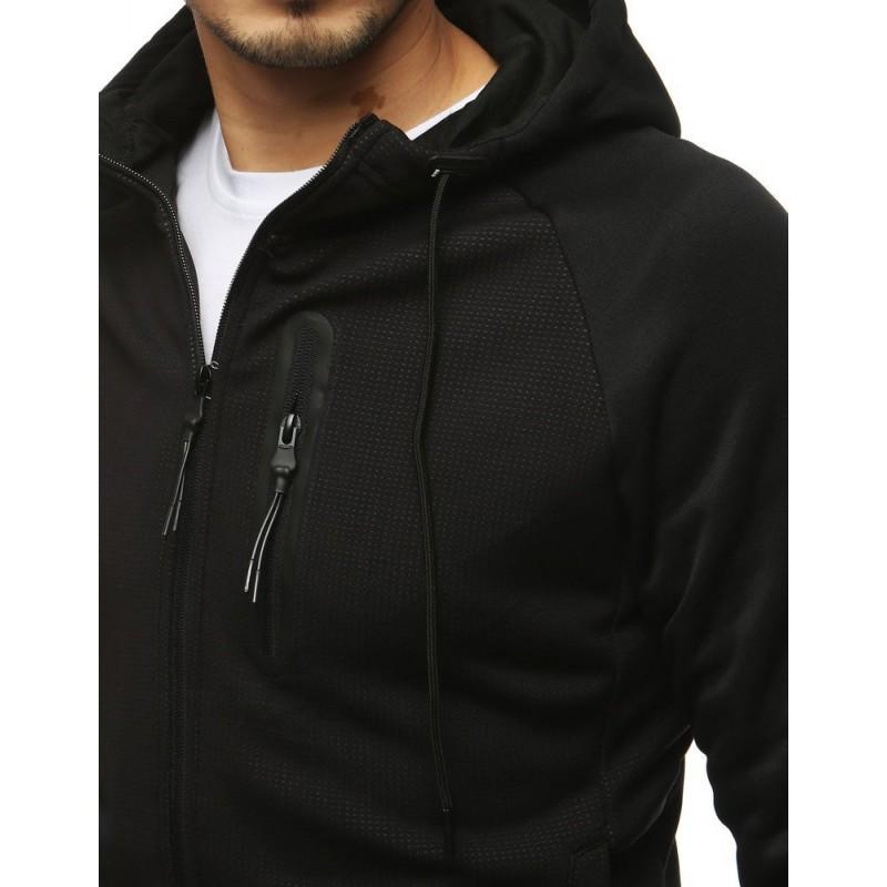 Pánská sportovní mikina s ozdobným zipem v černo-šedé barvě
