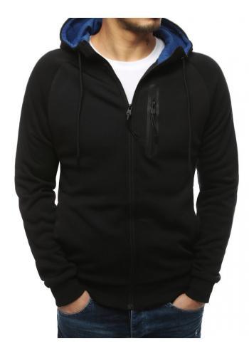 Sportovní pánská mikina černo-modré barvy s ozdobným zipem