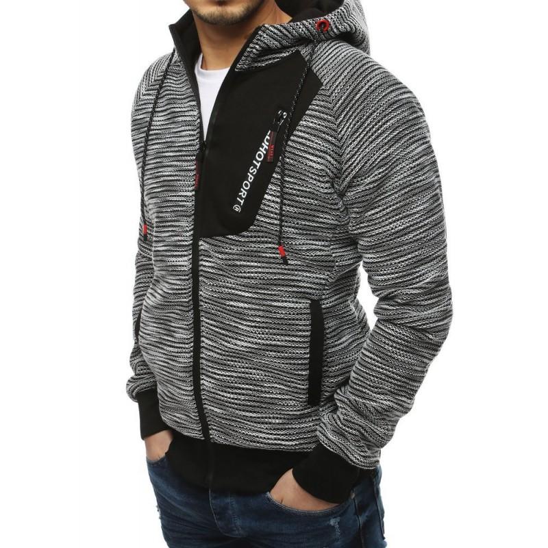 Pánská stylová mikina s kapucí v světle šedé barvě