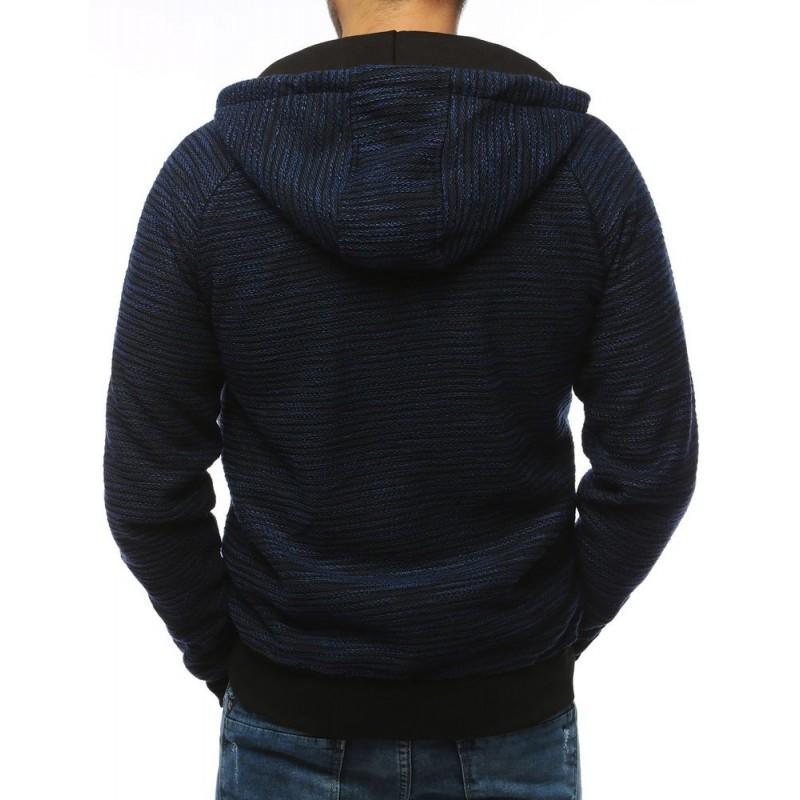 Stylová pánská mikina tmavě modré barvy s kapucí