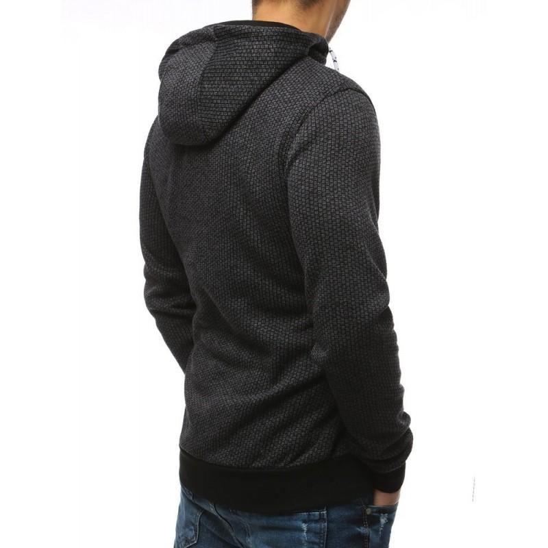 Pánská módní mikina s potiskem v tmavě šedé barvě