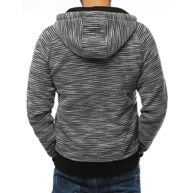 Pánská sportovní mikina s ozdobným zipem v světle šedé barvě