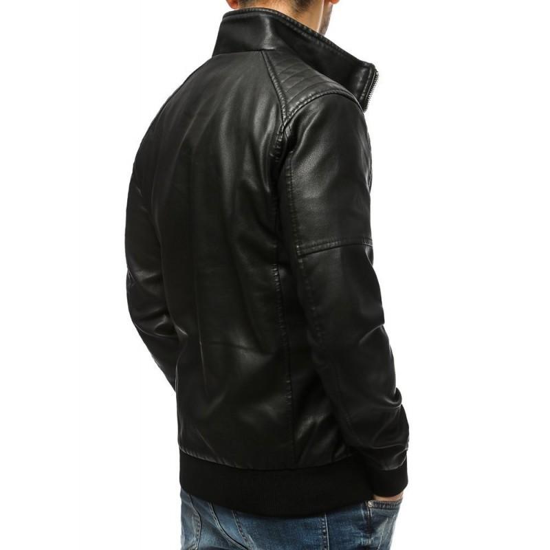 Pánské koženkové bundy v černé barvě