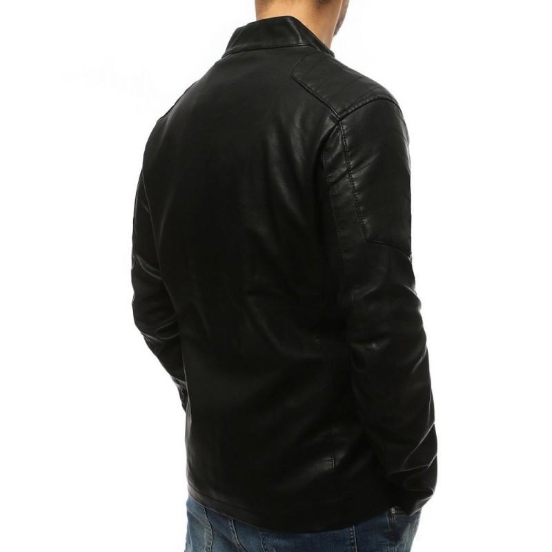 Koženková pánská bunda černé barvy s prošíváním