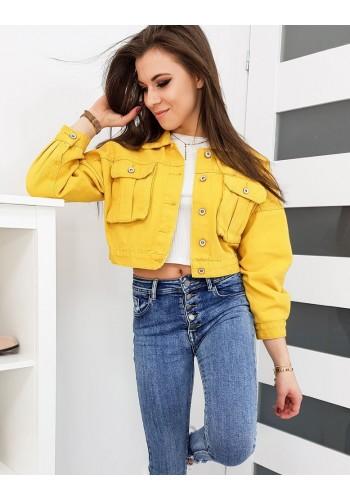 Dámská riflová bunda s oversize střihem ve žluté barvě