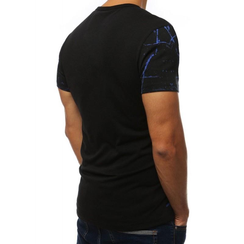 Stylové pánské tričko černo-modré barvy s potiskem