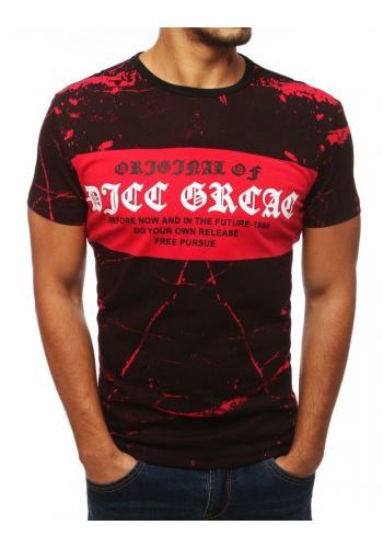 Pánské stylové tričko s potiskem v černo-červené barvě