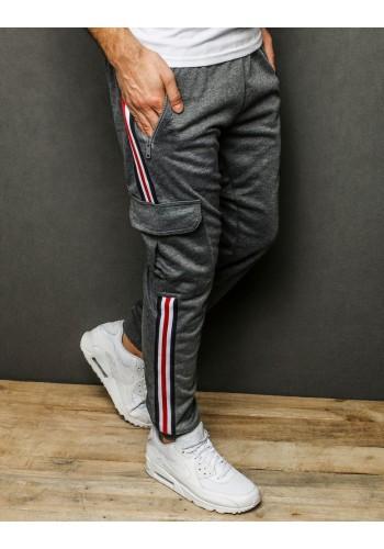 Pánské stylové tepláky s pásy na bocích v tmavě šedé barvě