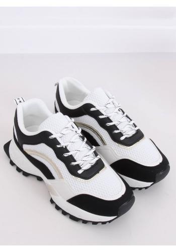 Dámské sportovní tenisky na vysoké podrážce v černo-bílé barvě