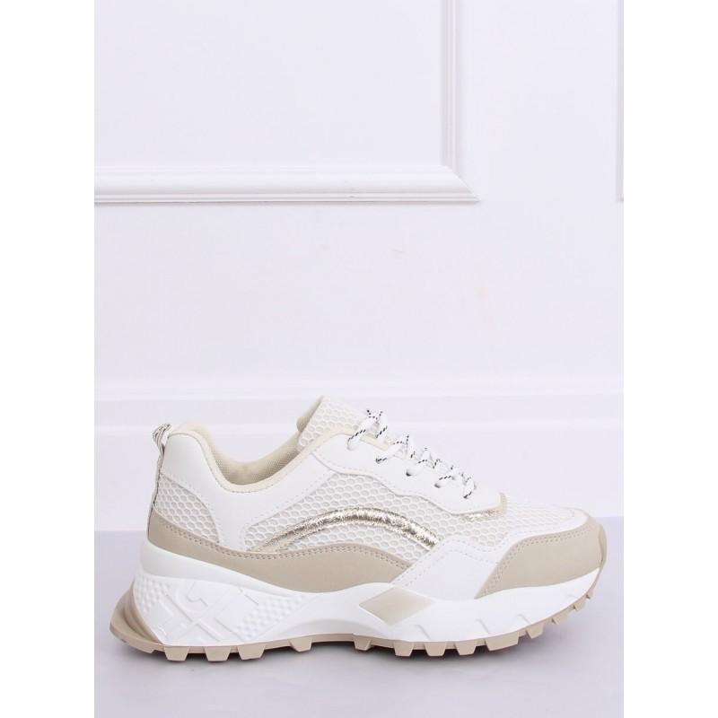 Béžovo-bílé sportovní tenisky na vysoké podrážce pro dámy