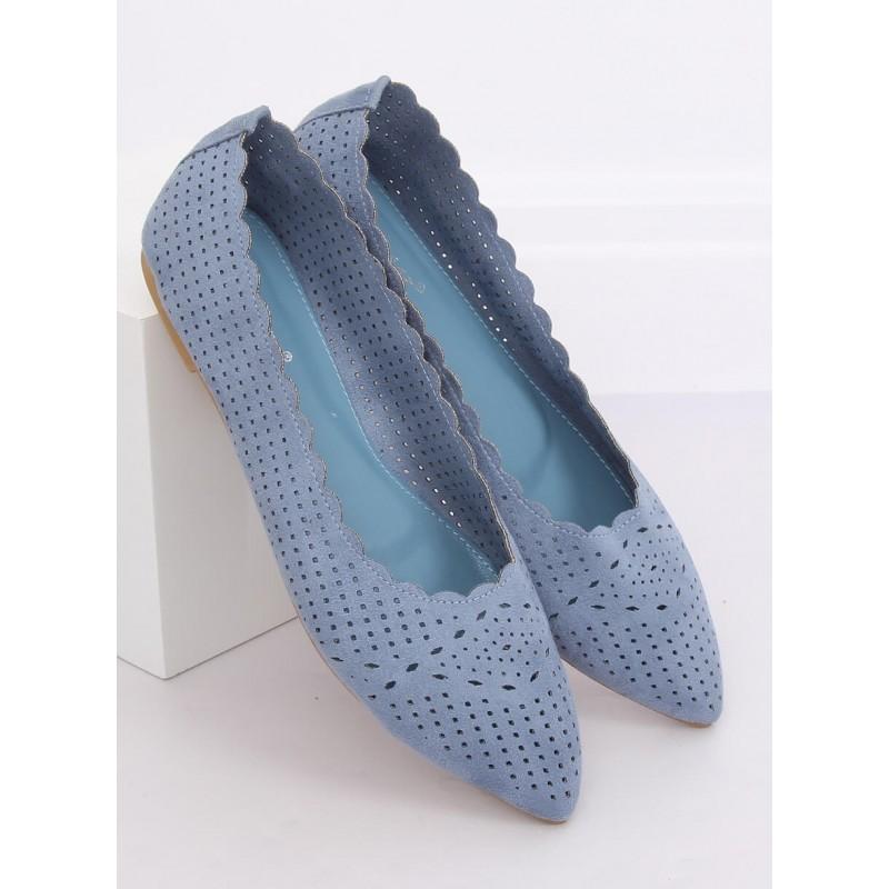 Modré ažurové balerínky s jemným špicem pro dámy