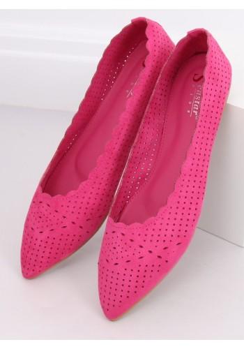 Ažurové dámské balerínky růžové barvy s jemným špicem