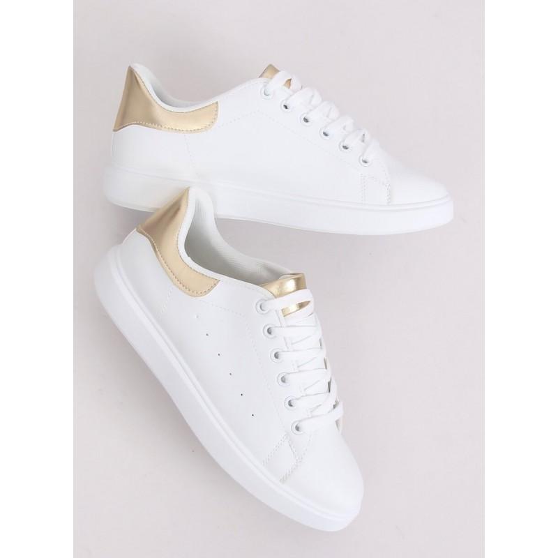 Bílé klasické tenisky se zlatými vložkami pro dámy