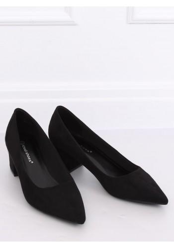 Semišové dámské lodičky černé barvy na nízkém podpatku