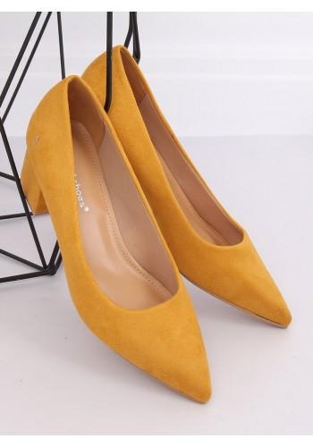Žluté semišové lodičky na nízkém podpatku pro dámy