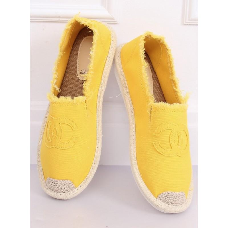 Plátěné dámské espadrilky žluté barvy