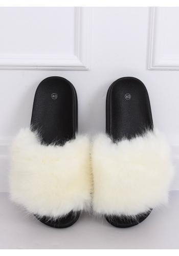 Módní dámské pantofle bílé barvy s kožešinou