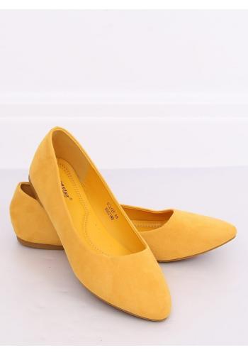 Dámské semišové balerínky ve žluté barvě