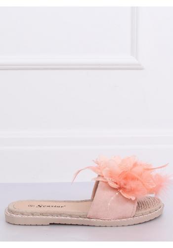 Dámské zdobené pantofle s pírkami v růžové barvě