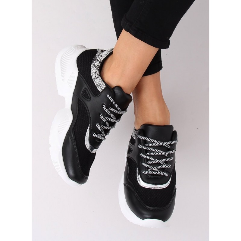 Stylové dámské tenisky černé barvy na vysoké podrážce