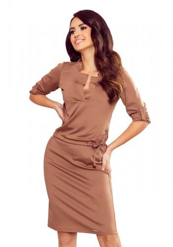 Dámské pohodlné šaty s 3/4 rukávem v světle hnědé barvě