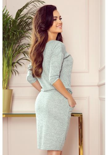 Šedé svetrové sportovní šaty s melanžovým vzorem pro dámy