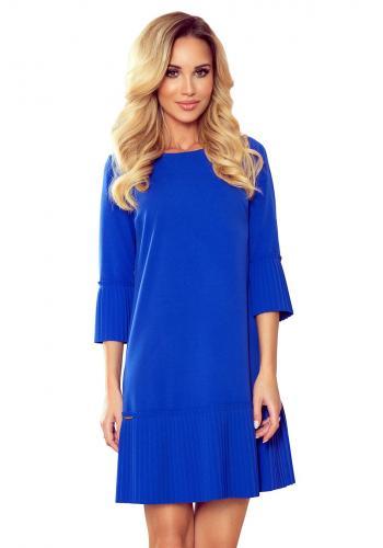 Dámské pohodlné šaty s plisovanými prvky v modré barvě