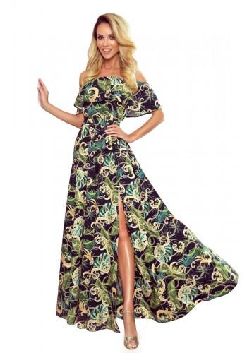 Černé dlouhé šaty s motivem listů pro dámy