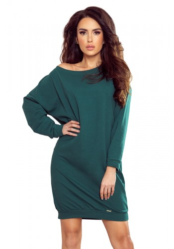 Dámské volné šaty s dlouhým rukávem v zelené barvě