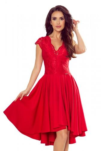 Exkluzivní dámské šaty červené barvy s krajkovým výstřihem