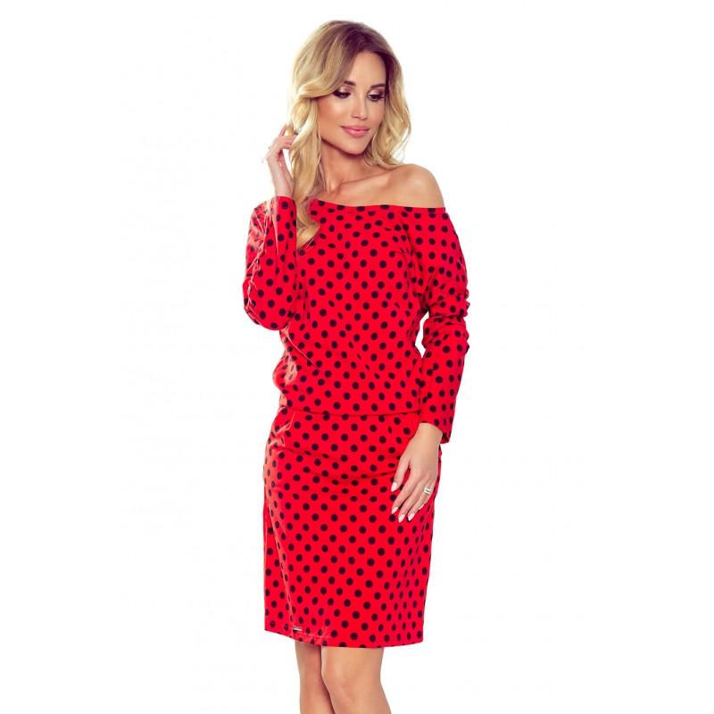 Bavlněné dámské šaty červené barvy s černými kuličkami
