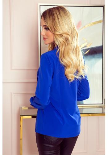 Dámská elegantní halenka s vázáním vpředu v modré barvě