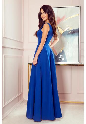 Modré dlouhé šaty s výstřihem pro dámy