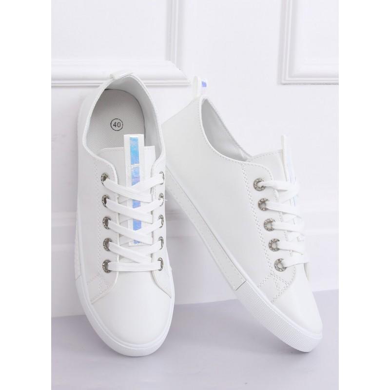 Klasické dámské tenisky bílé barvy s holografickými vložkami