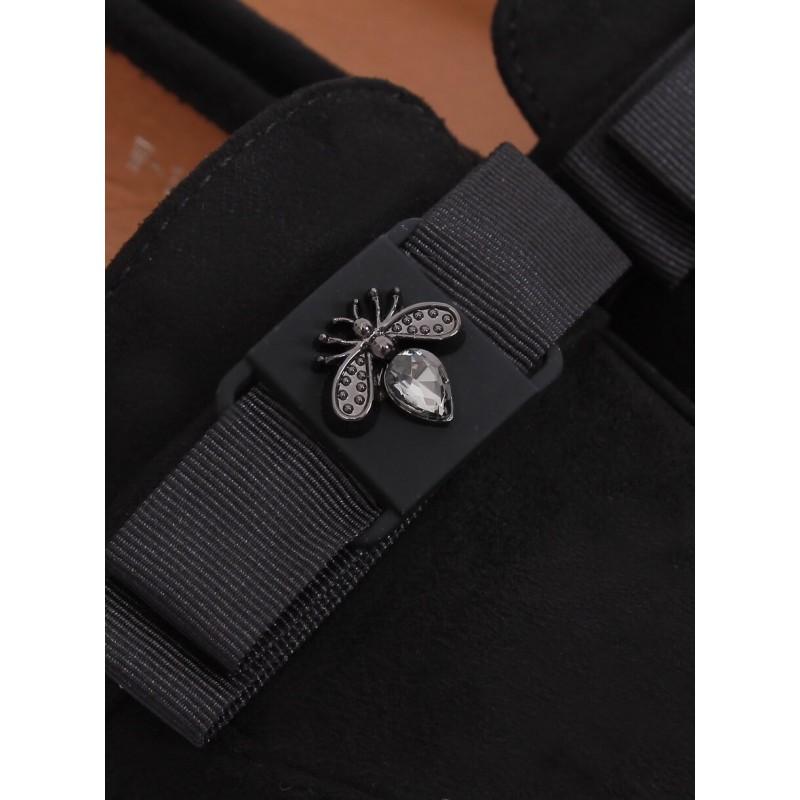 Černé semišové mokasíny s jemnou ozdobou pro dámy