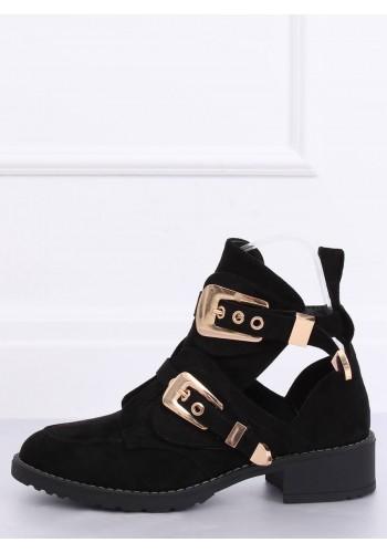 Semišové dámské boty černé barvy s přezkami