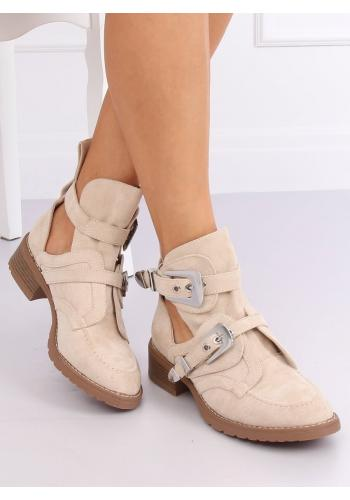 Béžové semišové boty s přezkami pro dámy