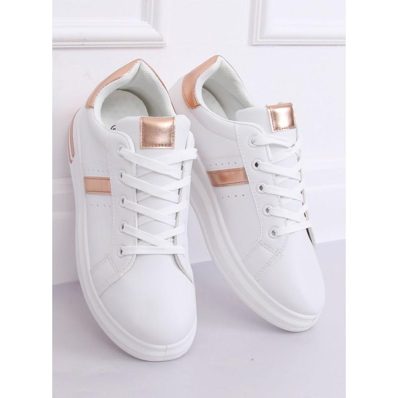 Módní dámské tenisky bílé barvy s růžovo-zlatými prvky