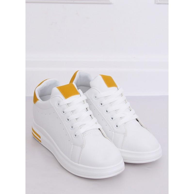 Dámské stylové tenisky na skrytém podpatku v bílé barvě