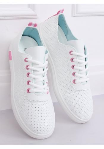 Bílo-růžové dírkované tenisky pro dámy