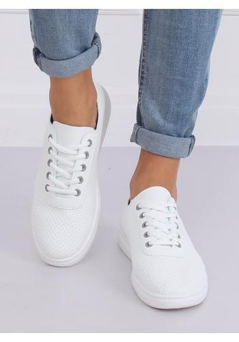 Dírkované dámské tenisky bílo-šedé barvy